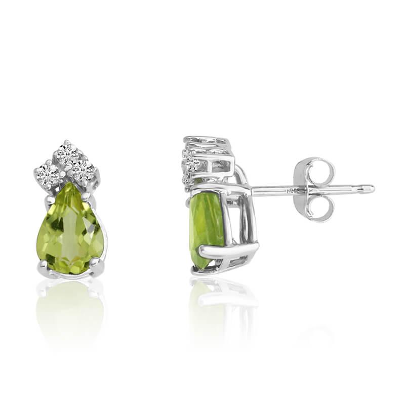14k White Gold 7X5 Pear Peridot and Diamond Earrings