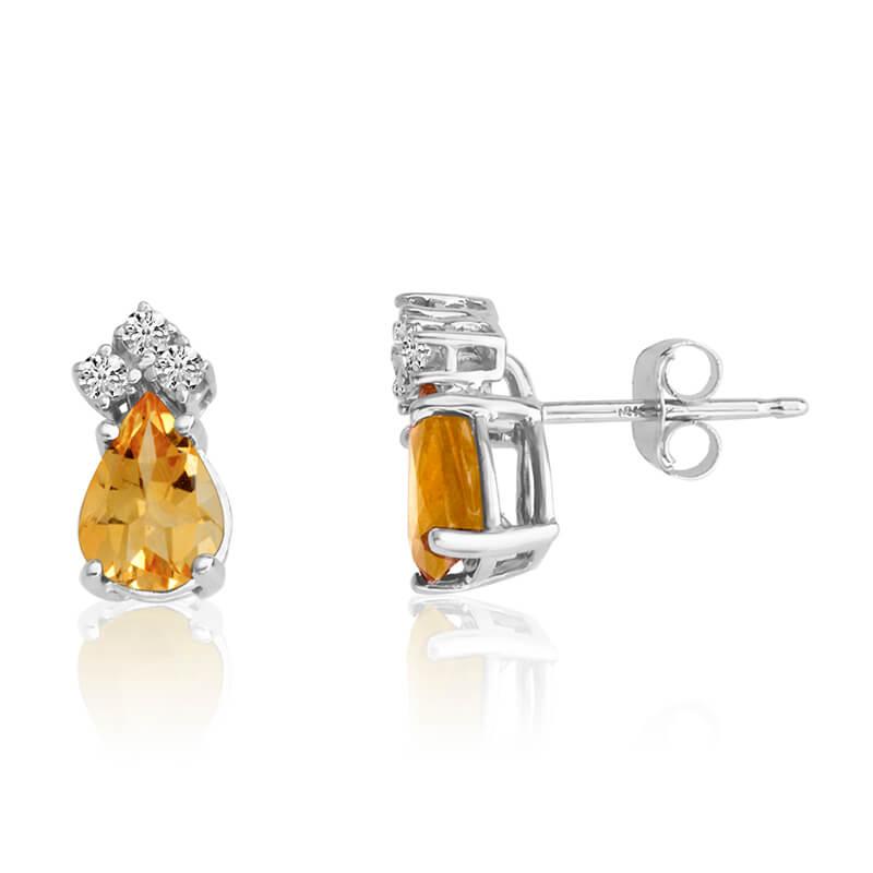 14k White Gold 7X5 Pear Citrine and Diamond Earrings