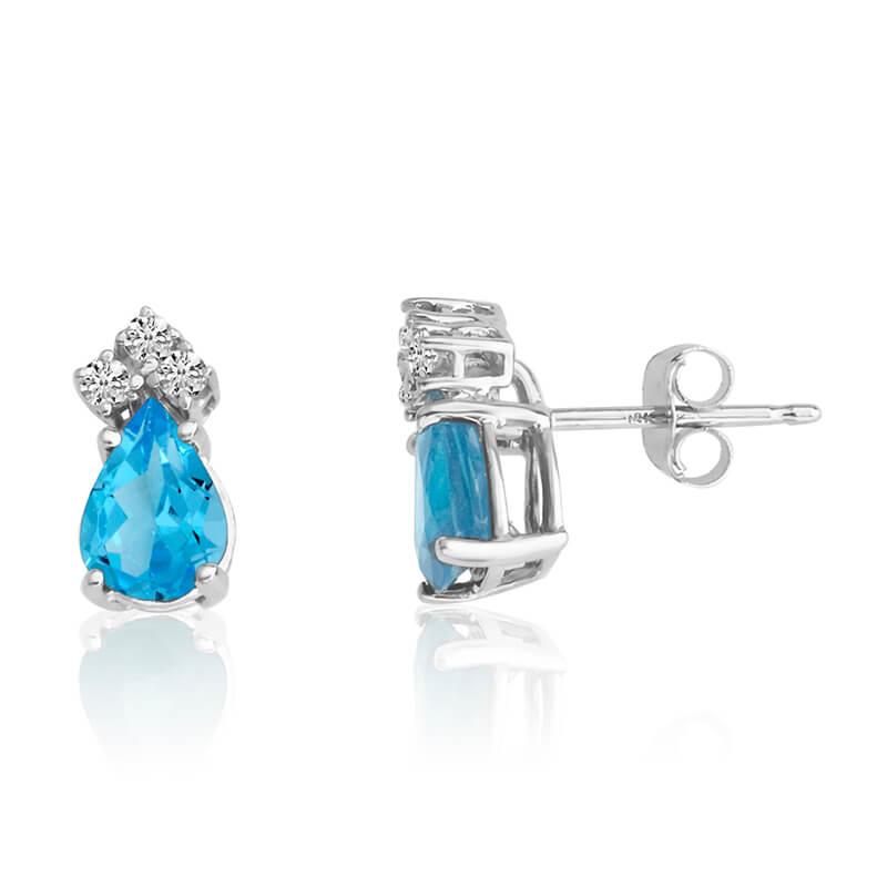 14k White Gold 7X5 Pear Blue Topaz and Diamond Earrings