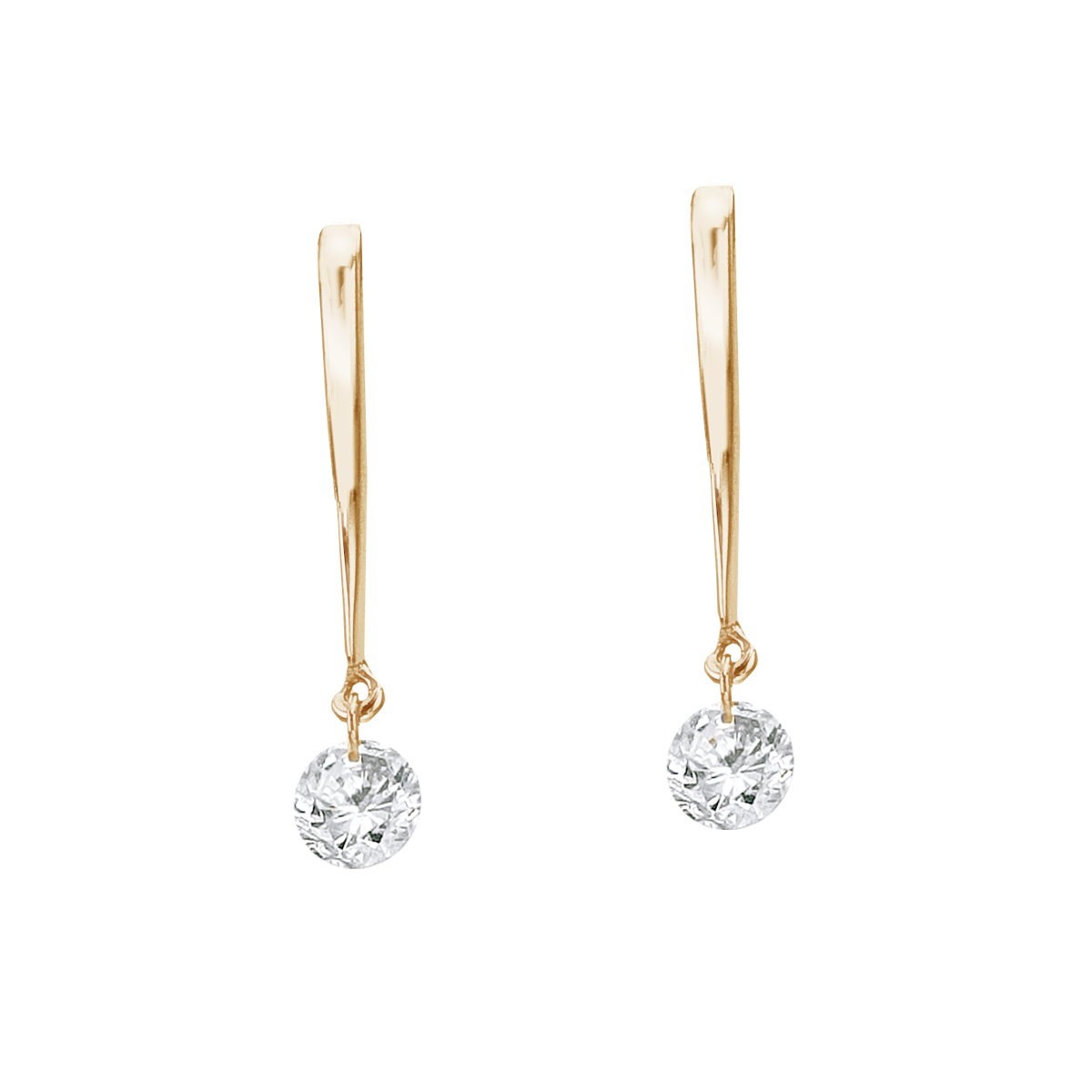 14K Yellow Gold .16 ct Dashing Diamonds Earrings