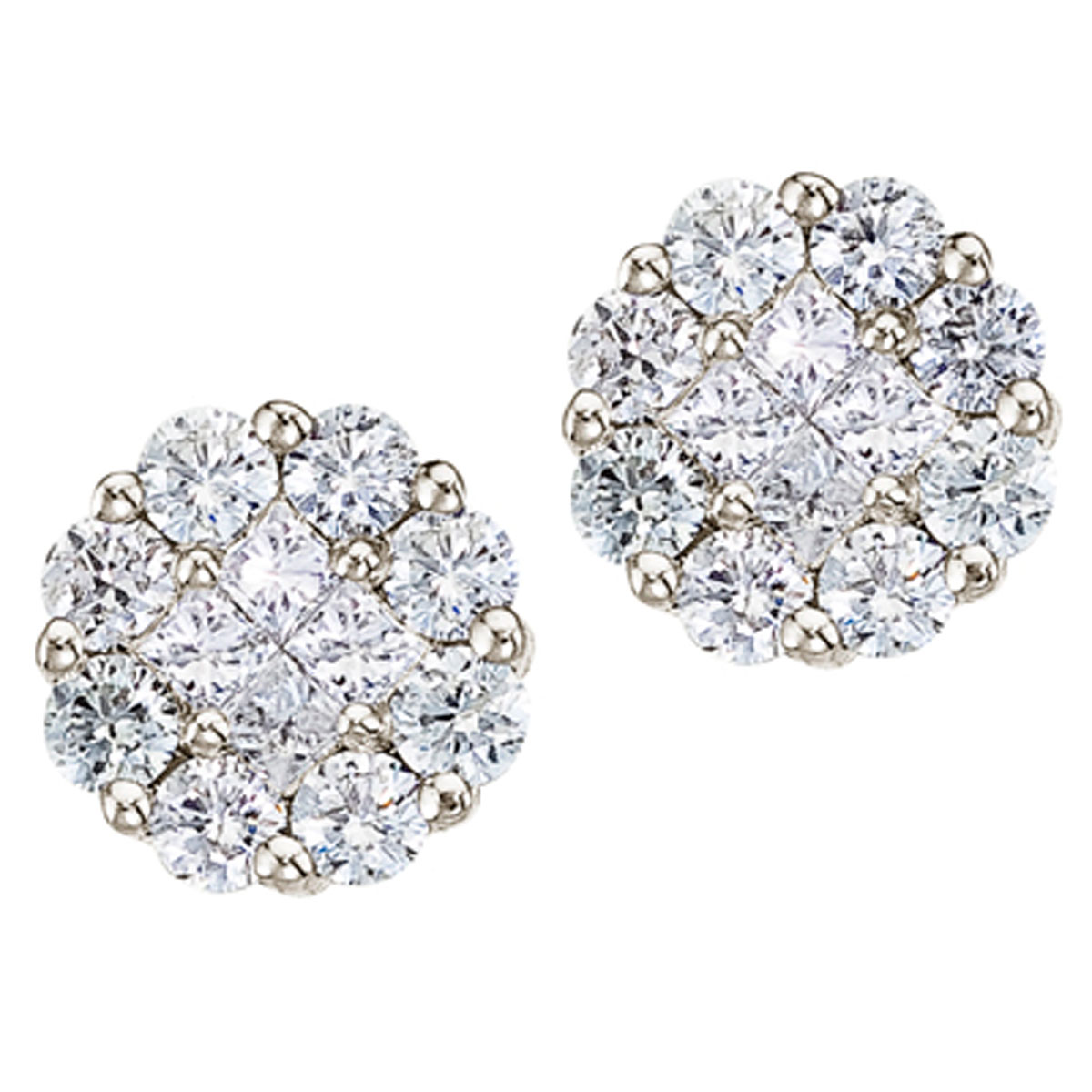 Gorgeous 14k white gold earrings with a full carat of shimmering genuine diamonds. Clustaires giv...