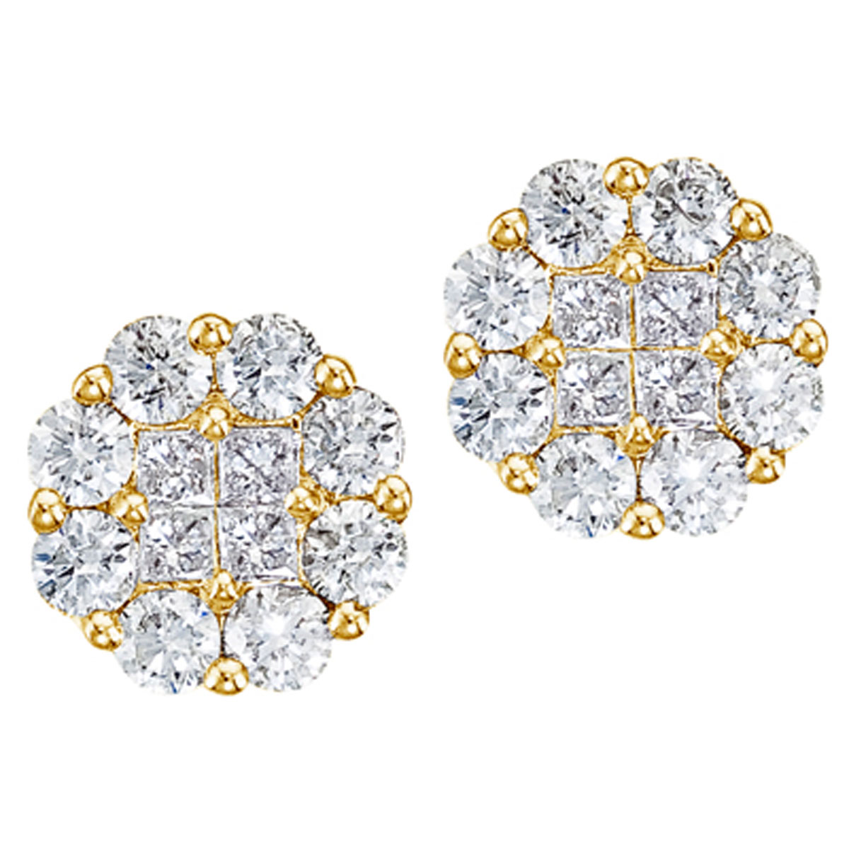 Gorgeous 14k yellow gold earrings with 1.50 total carats of shimmering genuine diamonds. Clustair...