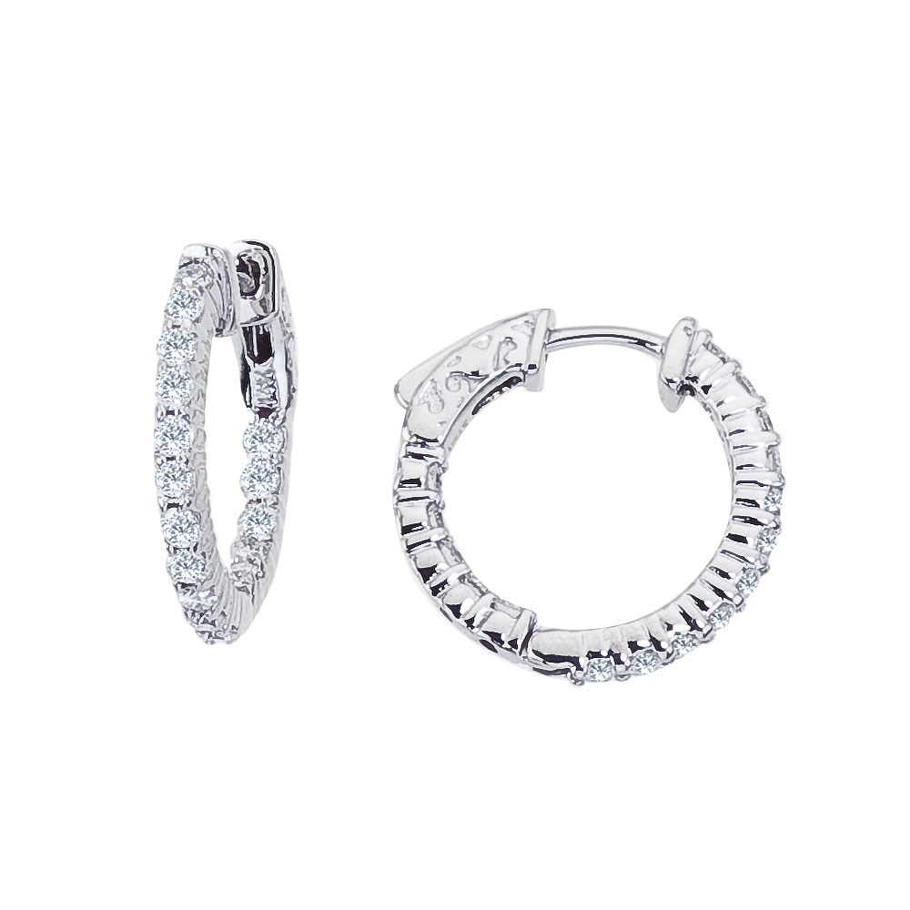 These 20x20 mm patented secure lock inside-outside diamond hoop earrings feature 1 carats of stun...