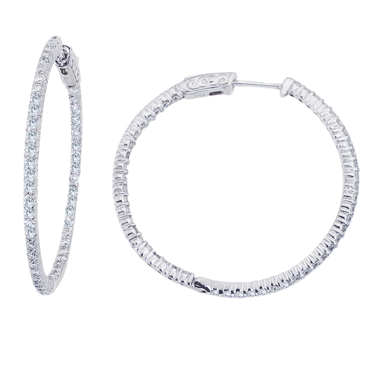 These 35x35 mm patented secure lock inside-outside diamond hoop earrings feature 2 carats of stun...