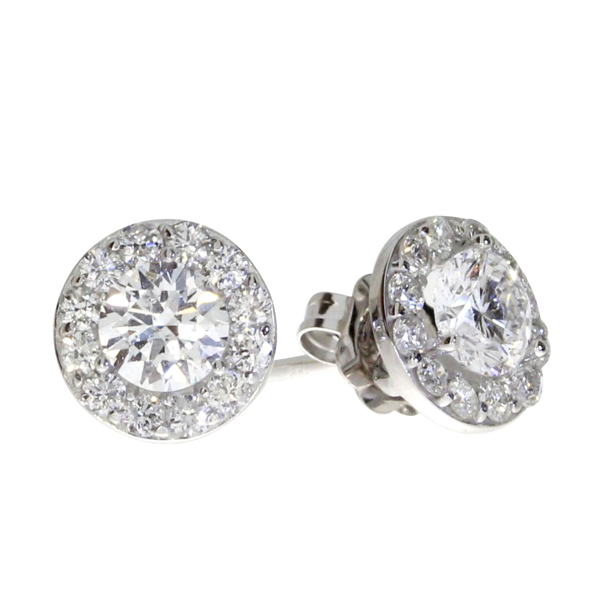 Stunning 14k white gold halo style earrings with .79 total carats of shimmering diamonds.