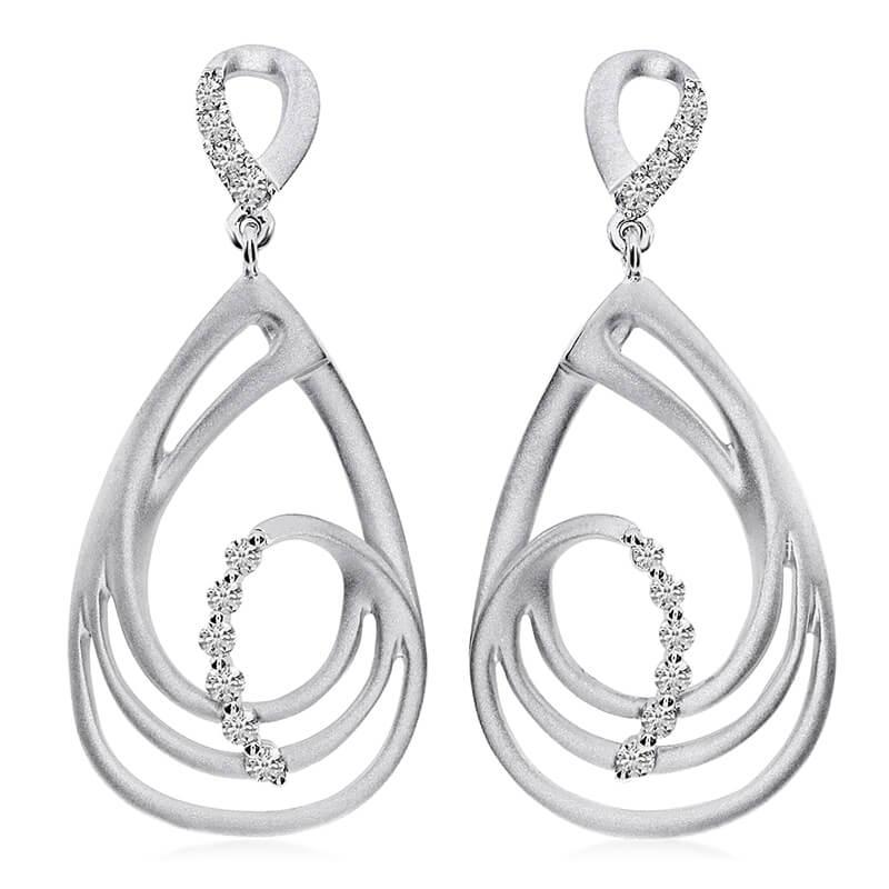 14K White Gold Satin Teardrop Diamond Earrings