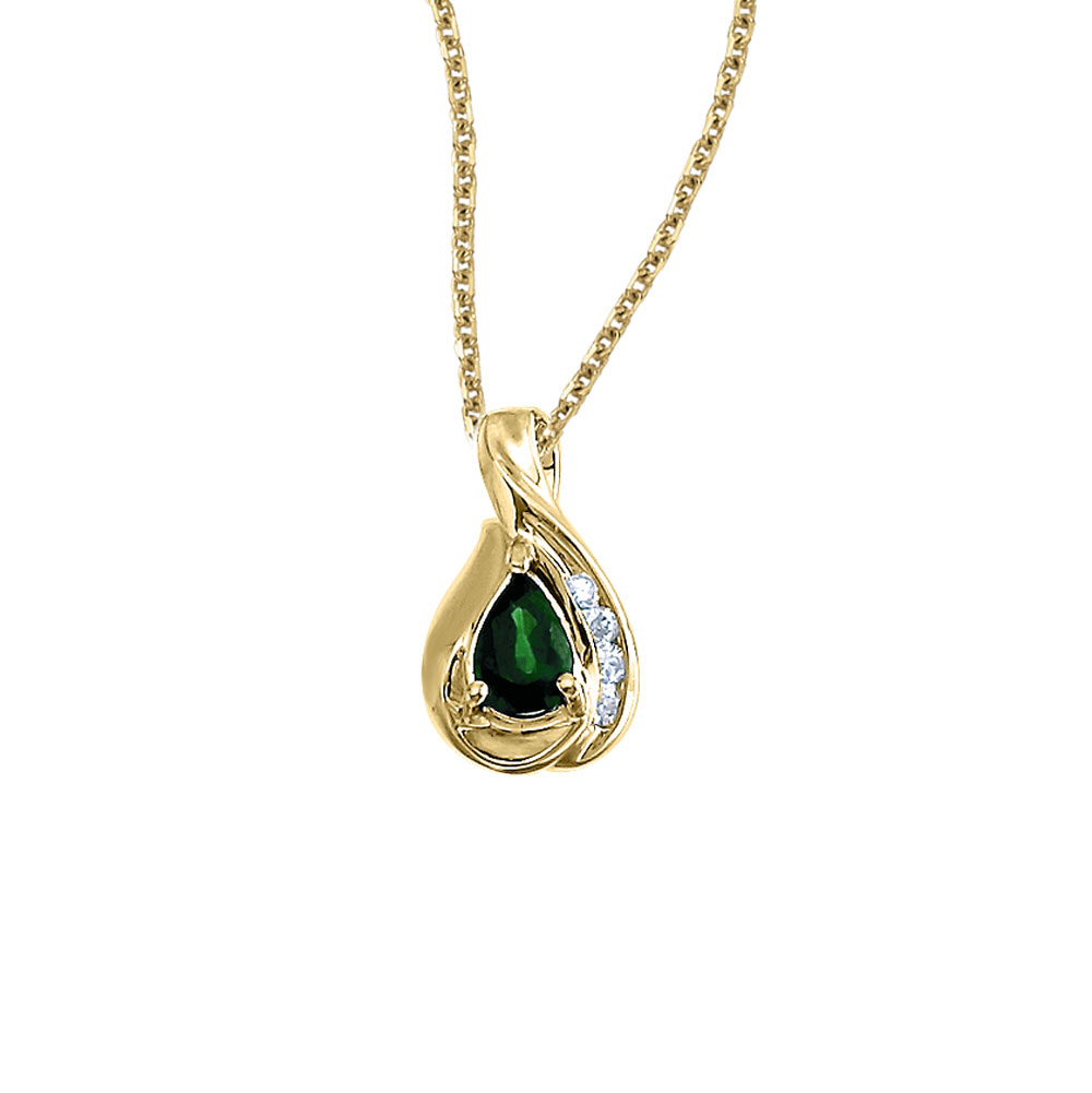 A beautiful  eye-catching  7x5mm genuine emerald pendant in 14k yellow gold with .08 total diamon...
