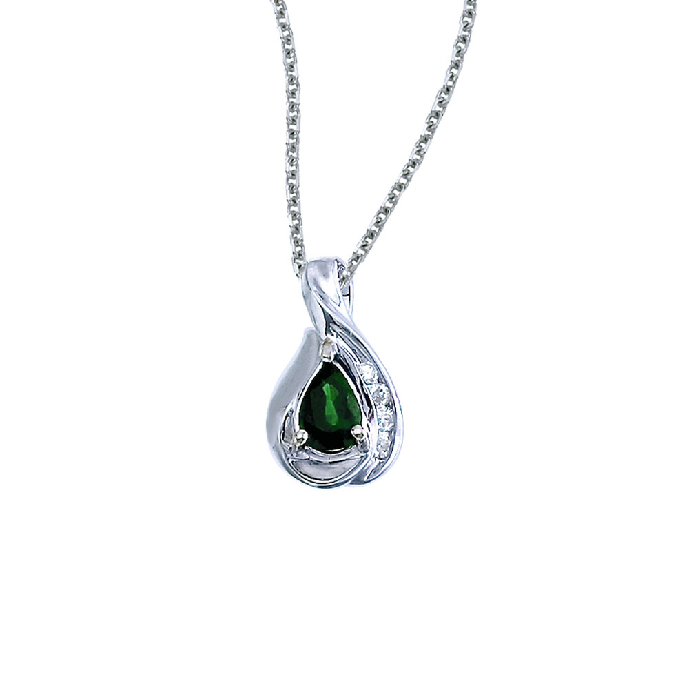 A beautiful  eye-catching  7x5mm genuine emerald pendant in 14k white gold with .08 total diamond...