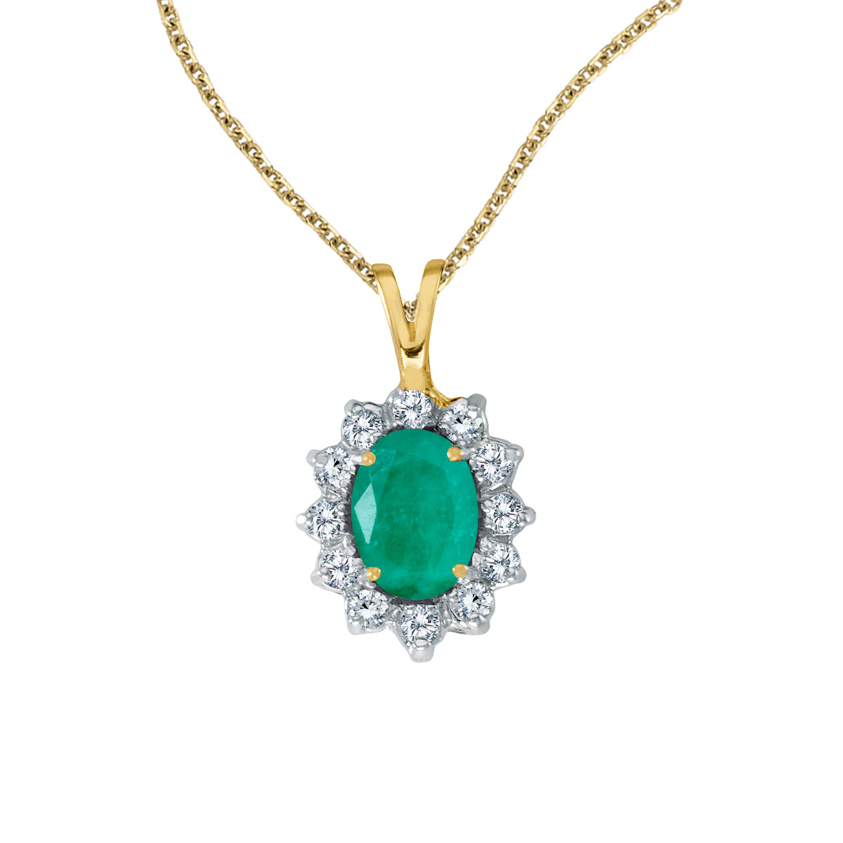 8x6 mm emerald surrounded by .30 carats of shimmering diamonds set in 14k yellow gold. Perfect fo...