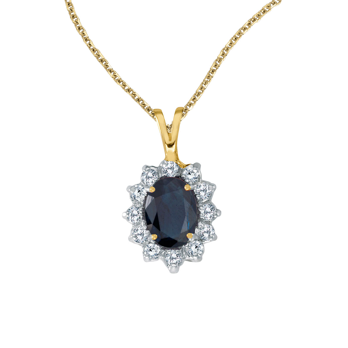 8x6 mm sapphire surrounded by .30 carats of shimmering diamonds set in 14k yellow gold. Perfect f...