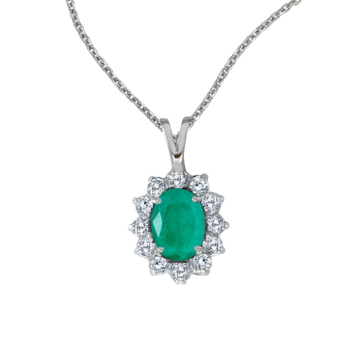 8x6 mm emerald surrounded by .30 carats of shimmering diamonds set in 14k white gold. Perfect for...