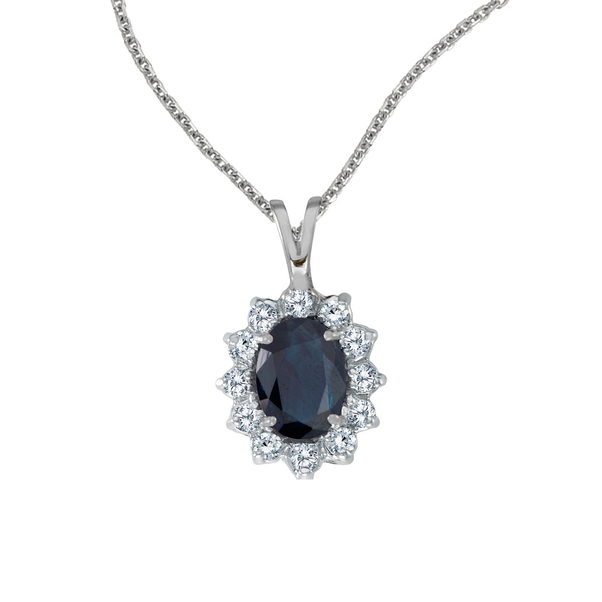 8x6 mm sapphire surrounded by .30 carats of shimmering diamonds set in 14k white gold. Perfect fo...