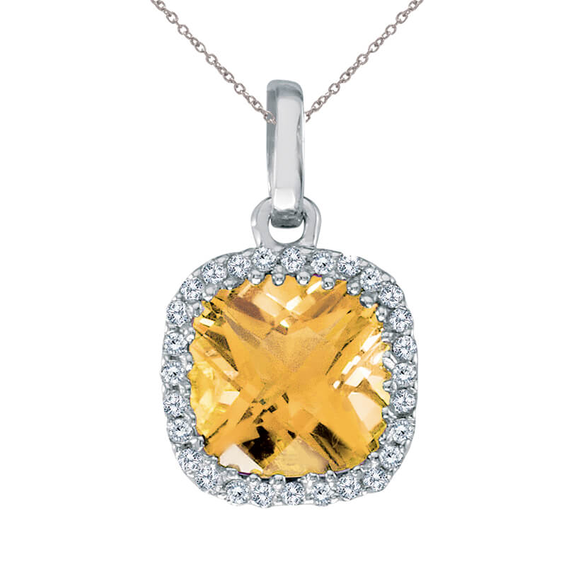 7 mm cushion cut citrine with bright diamonds set in 14k white gold.