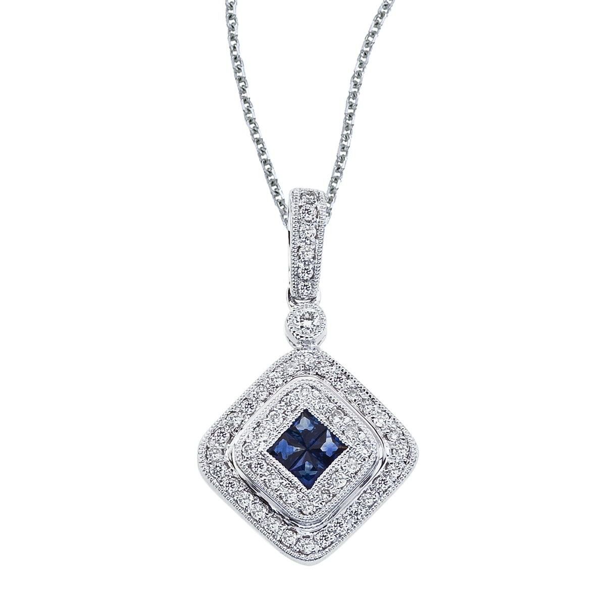 This fashionable pendant features four 1.6 mm sapphires and .17 total carats of sparkling diamonds.