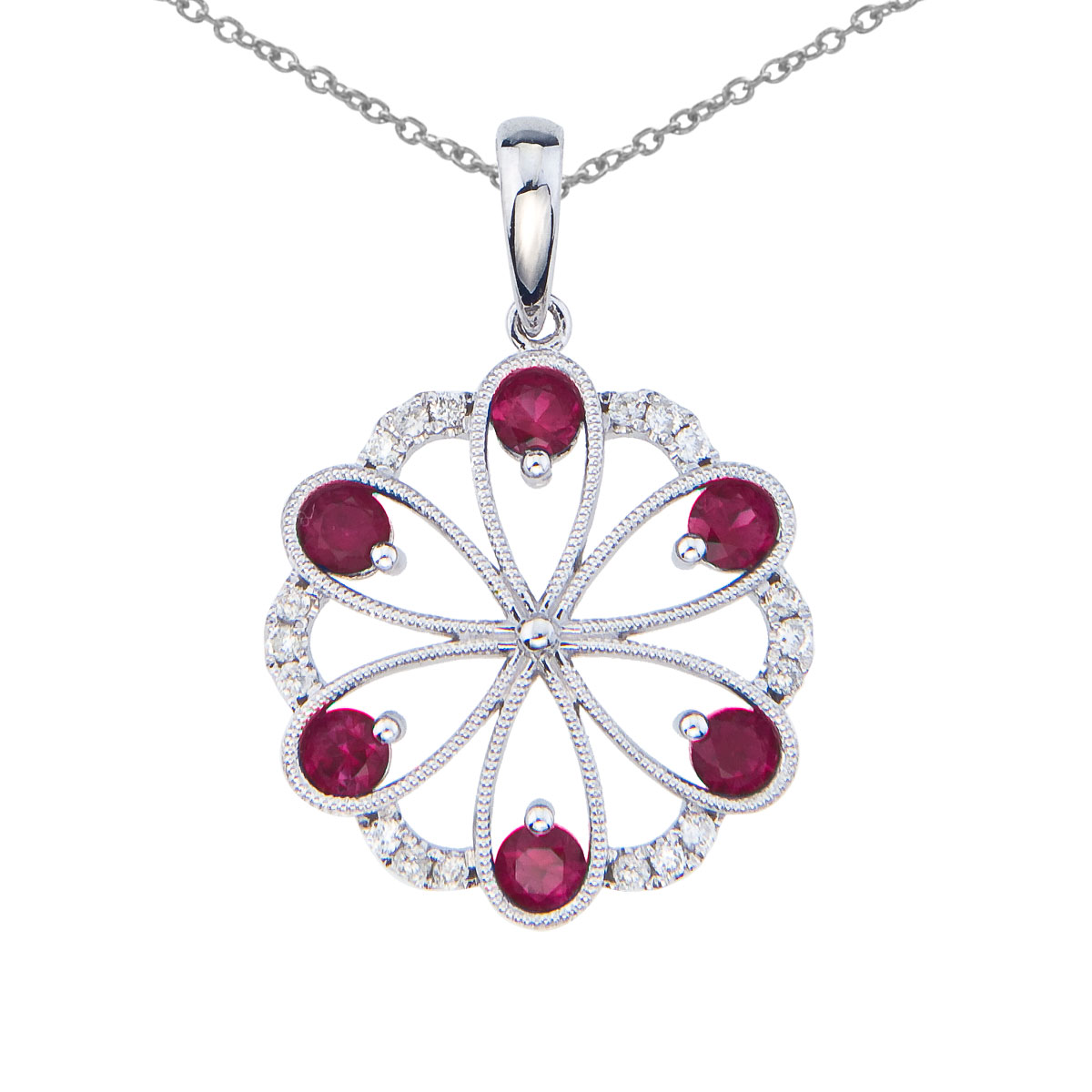 Beautiful floral pendant set in 14k white gold with 6 dazzling rubies and .14 total carats of bri...