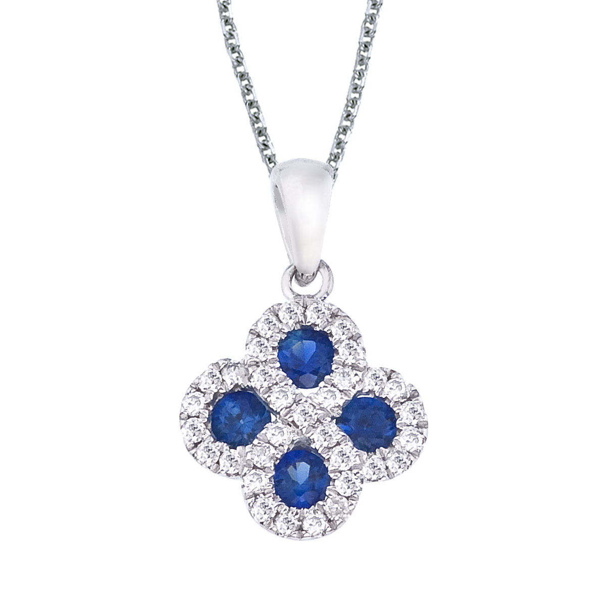 This 14k white gold clover shape pendant contains four 2.7 mm sapphires surrounded by .13 carats ...
