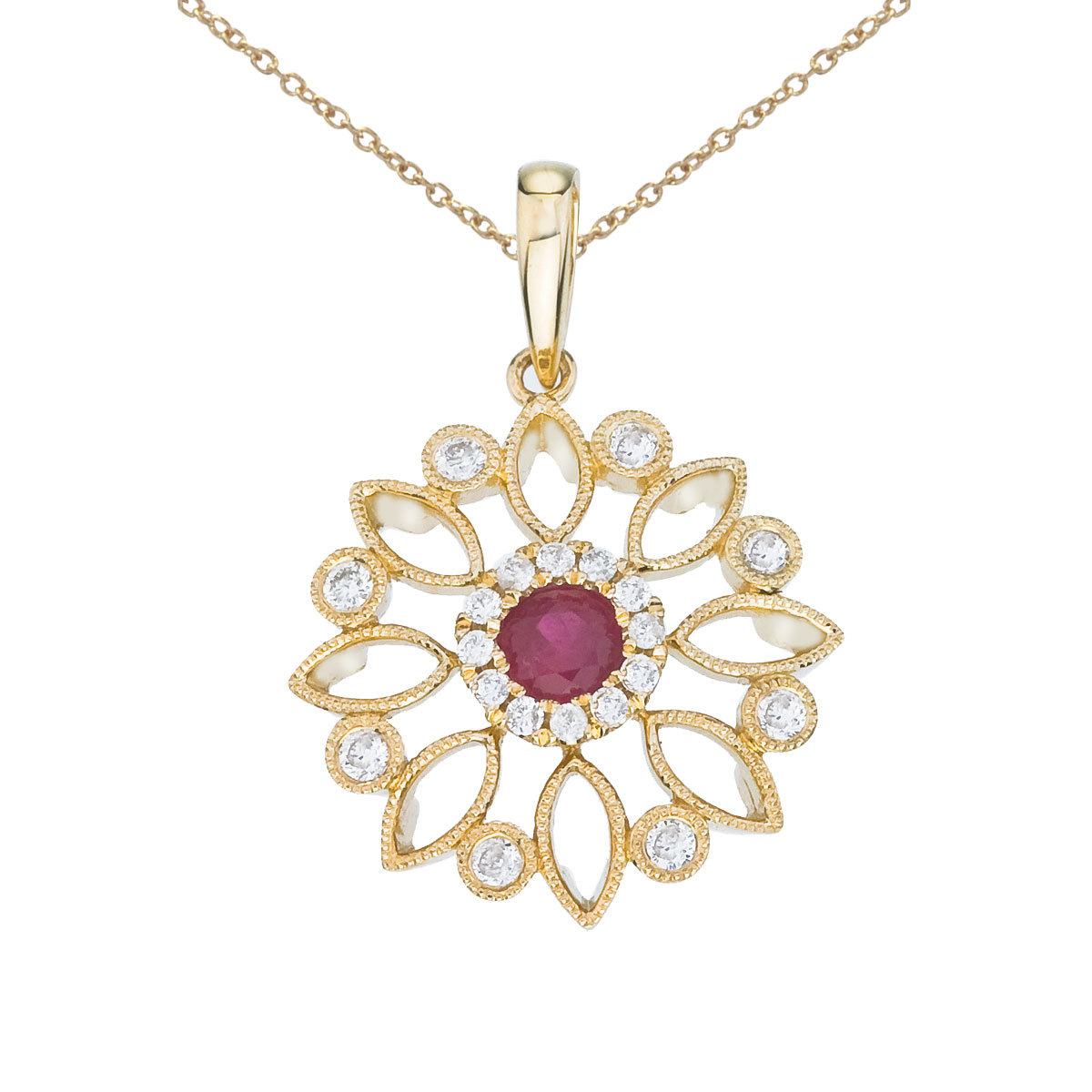 Flower shaped pendant set in 14k yellow gold with a radiant 4 mm ruby and .19 ct diamonds.