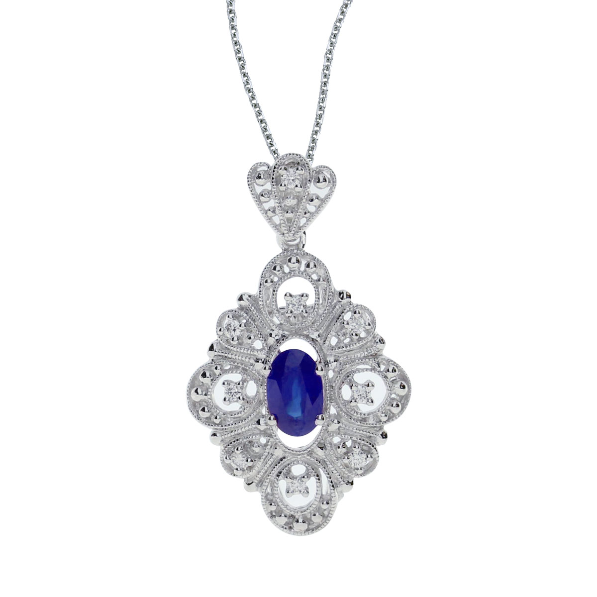 This beautiful 14k white gold pendant features a bright 6x4 mm oval sapphire and .08 carats of sh...