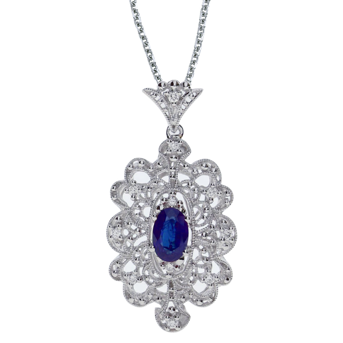 This beautiful 14k white gold pendant features a bright 6x4 mm oval sapphire and .10 carats of shimmering diamonds.