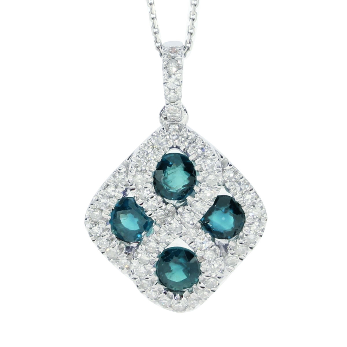This 14k white gold diamond shape pendant contains four 4 mm emeralds surrounded by .26 carats of...