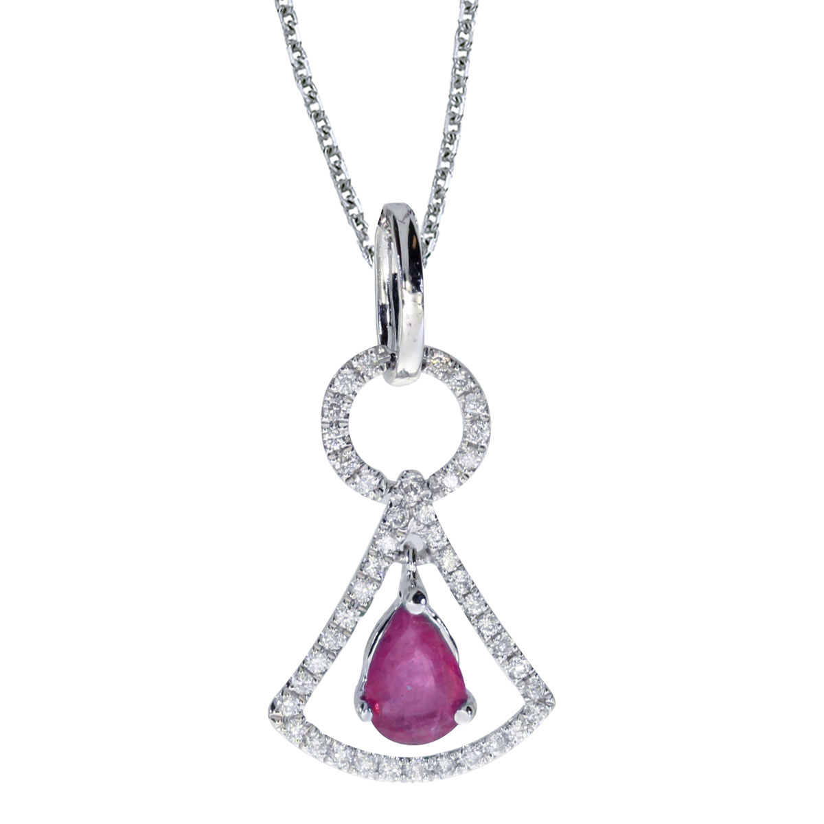 This unique 14k white gold  pendant features  a striking 6x4 mm pear ruby and .16 carats of shimm...