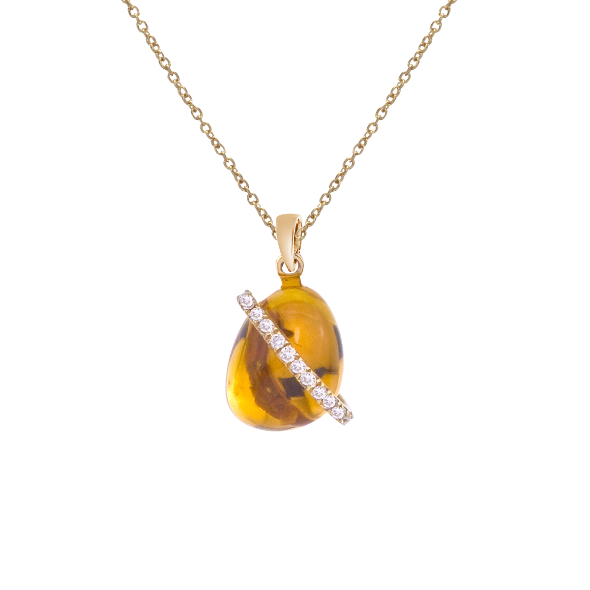 A luminous 9x7 mm cabochon citrine pendant with a ring of bright diamonds set in 14k yellow gold.