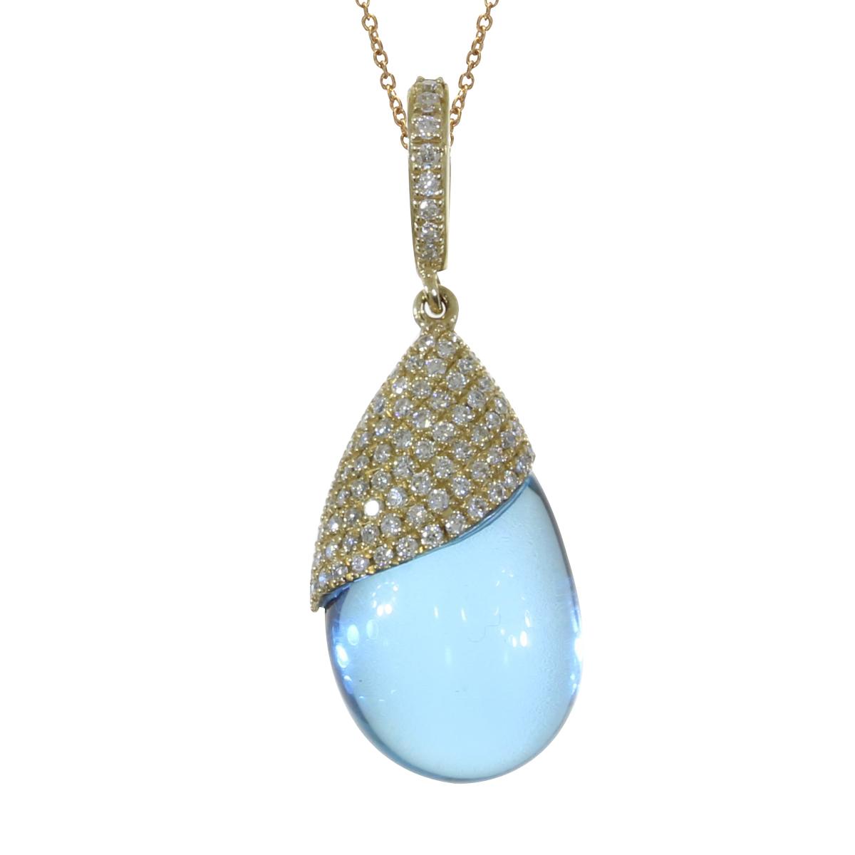 A luminous 15.8x10.3 mm cabochon blue topaz pendant topped off with .27 total carat diamonds set ...