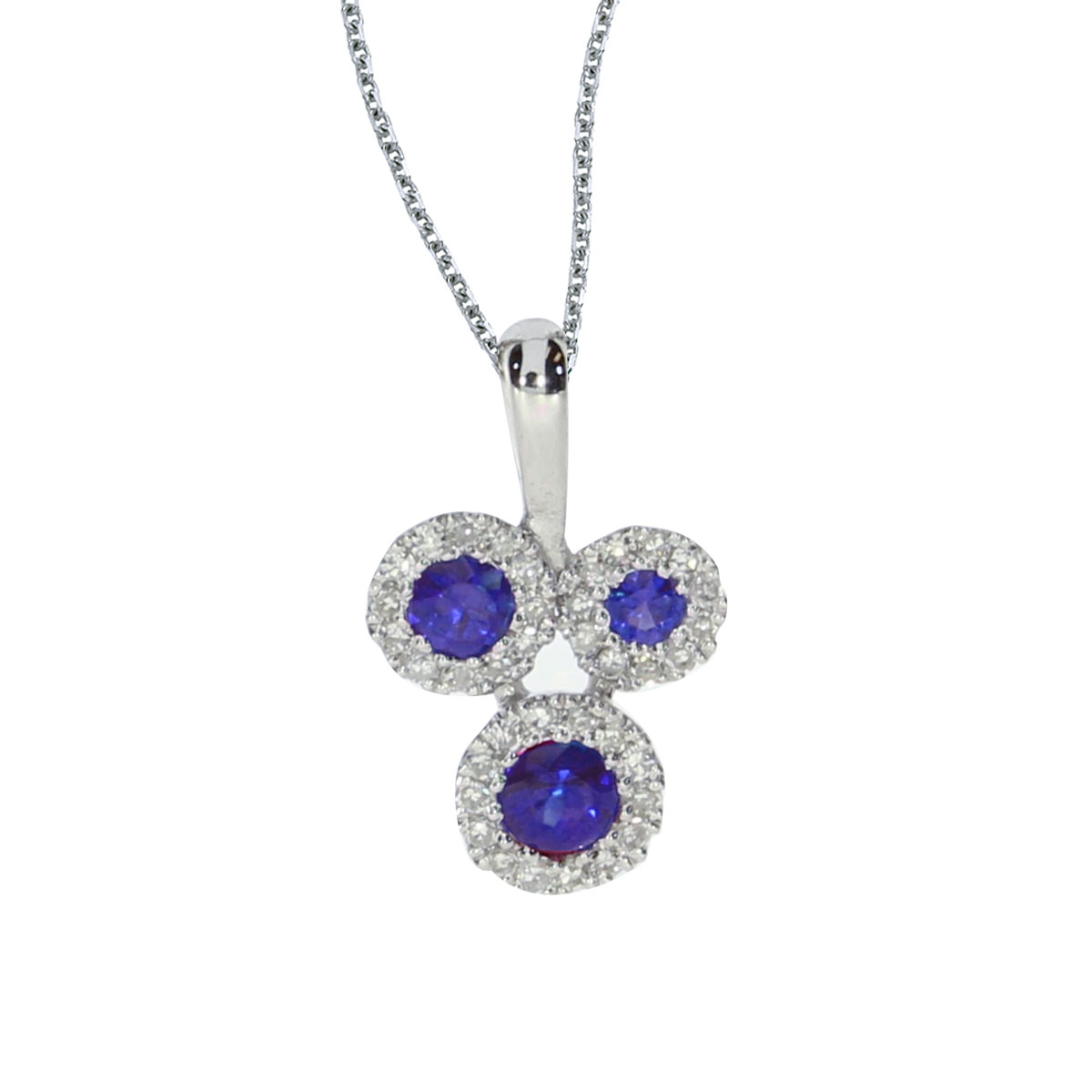 This 14k white gold pendant contains three 2.8 mm sapphires surrounded by .07 carats of shimmerin...