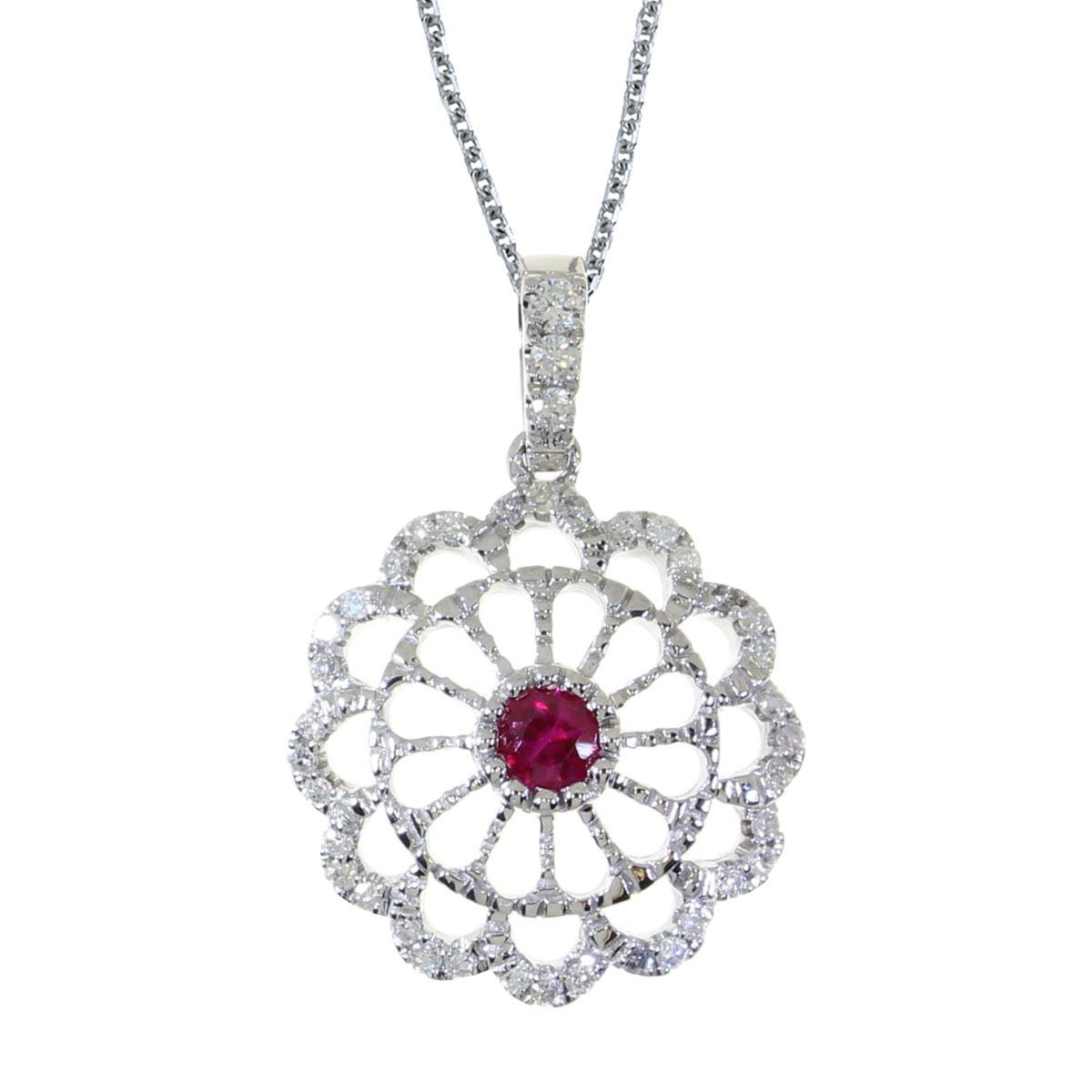 This beautiful 14k white gold  pendant features  a bright 3.5 mm round ruby and .05 carats of shi...