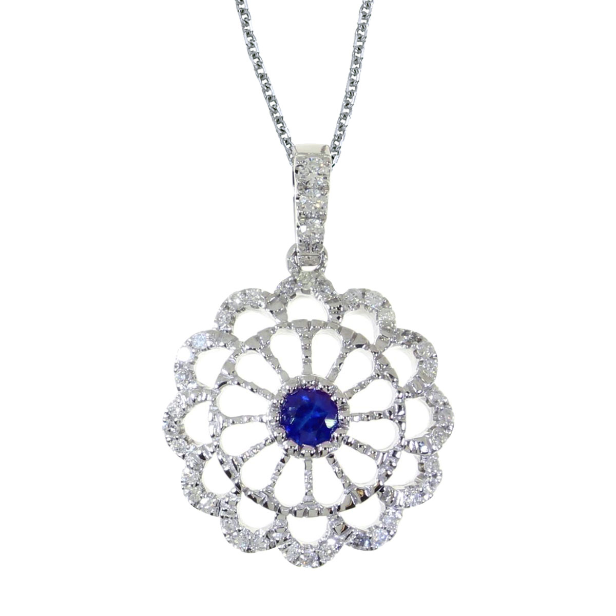 This beautiful 14k white gold pendant features a bright 3.5 mm round sapphire and .05 carats of s...