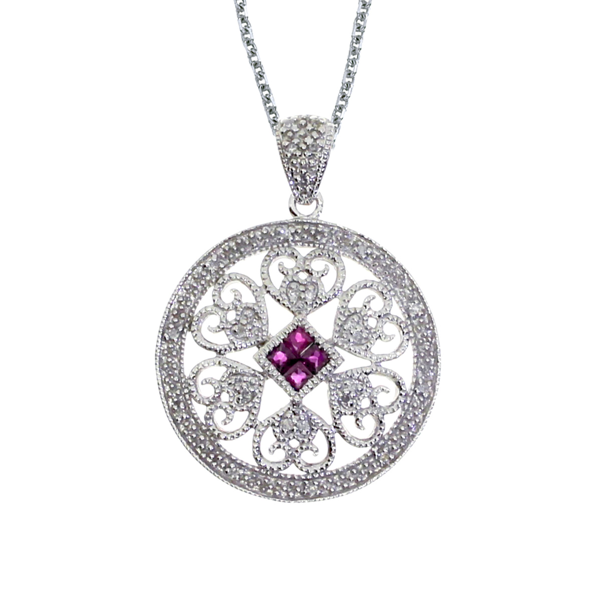 A beautiful round filigree pendant with four rubies and .08 total ct diamonds.