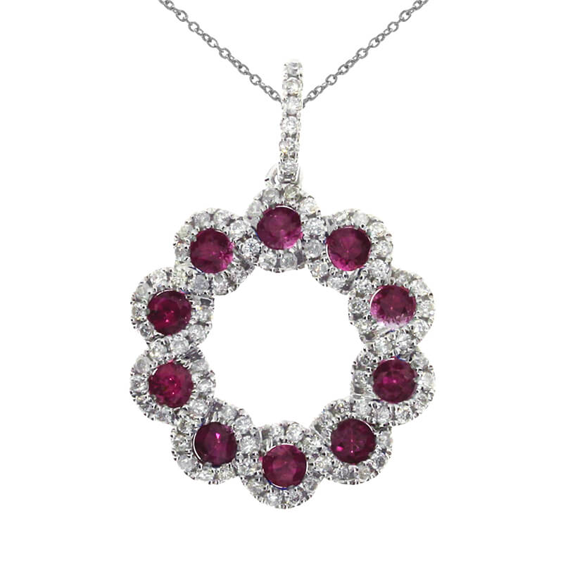 A circle of radiant rubies and bright diamonds in a 14k white gold pendant.