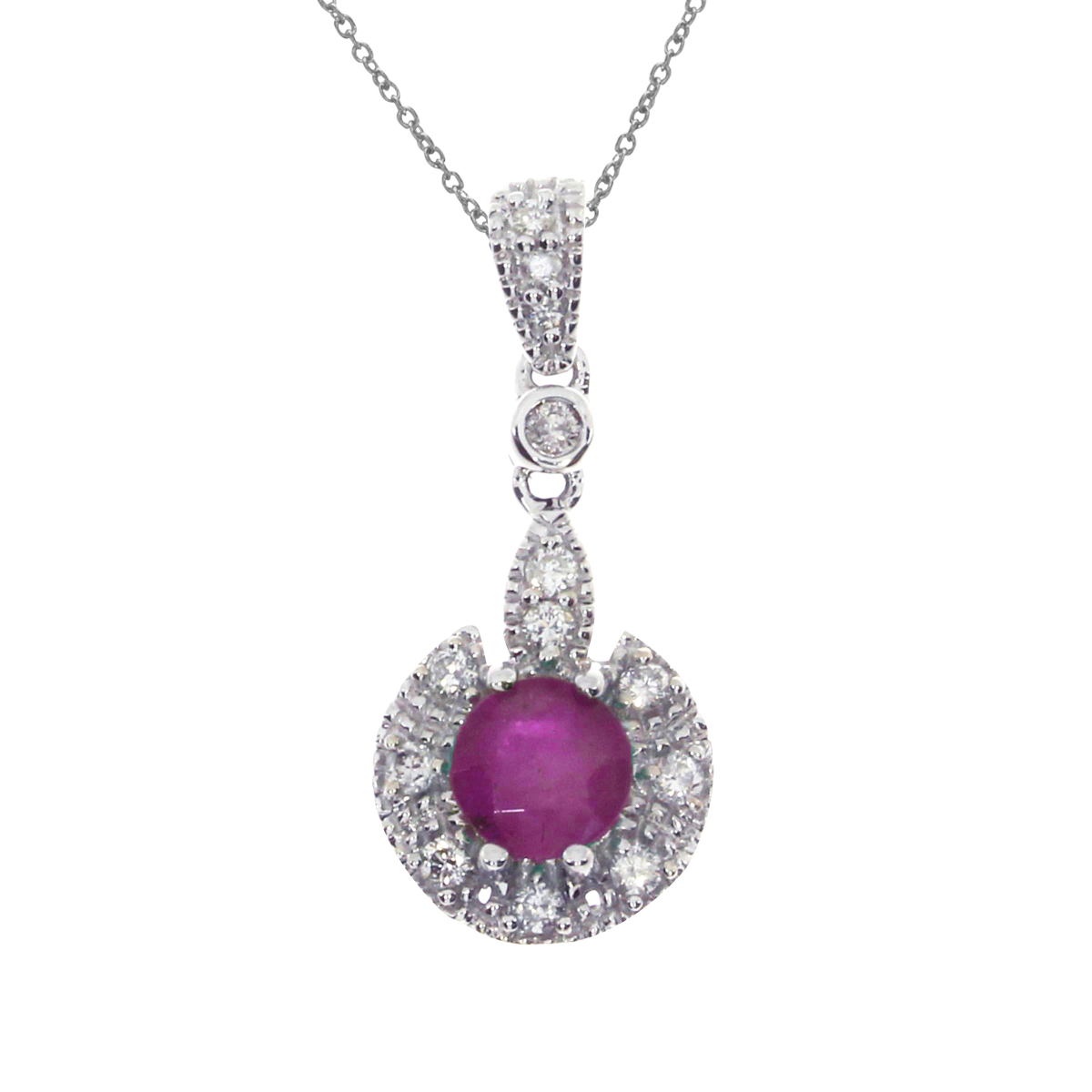 5 mm round genuine rubies pendant set in 14k white gold with .16 ct diamonds.