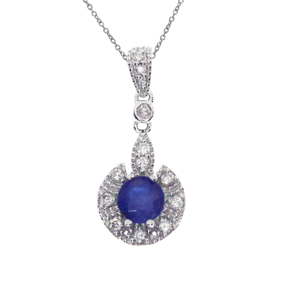 5 mm round genuine sapphires pendant set in 14k white gold with .16 ct diamonds.