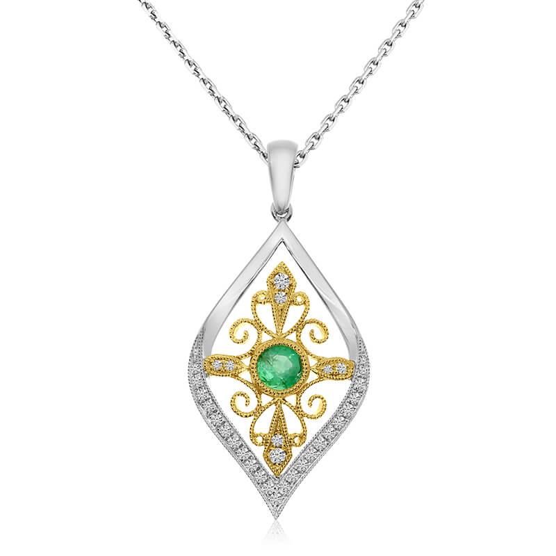 14K Two Toned Teardrop Emerald and Diamond Pendant