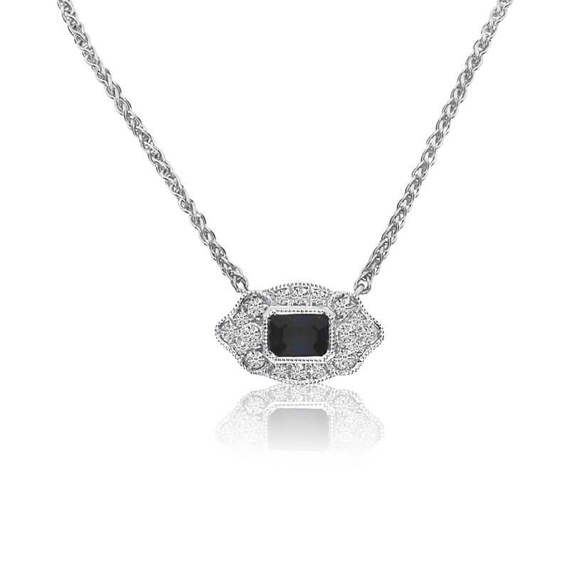 14K White Gold Filigree Emerald-Cut Sapphire and Diamond Necklace on 18'' Chain