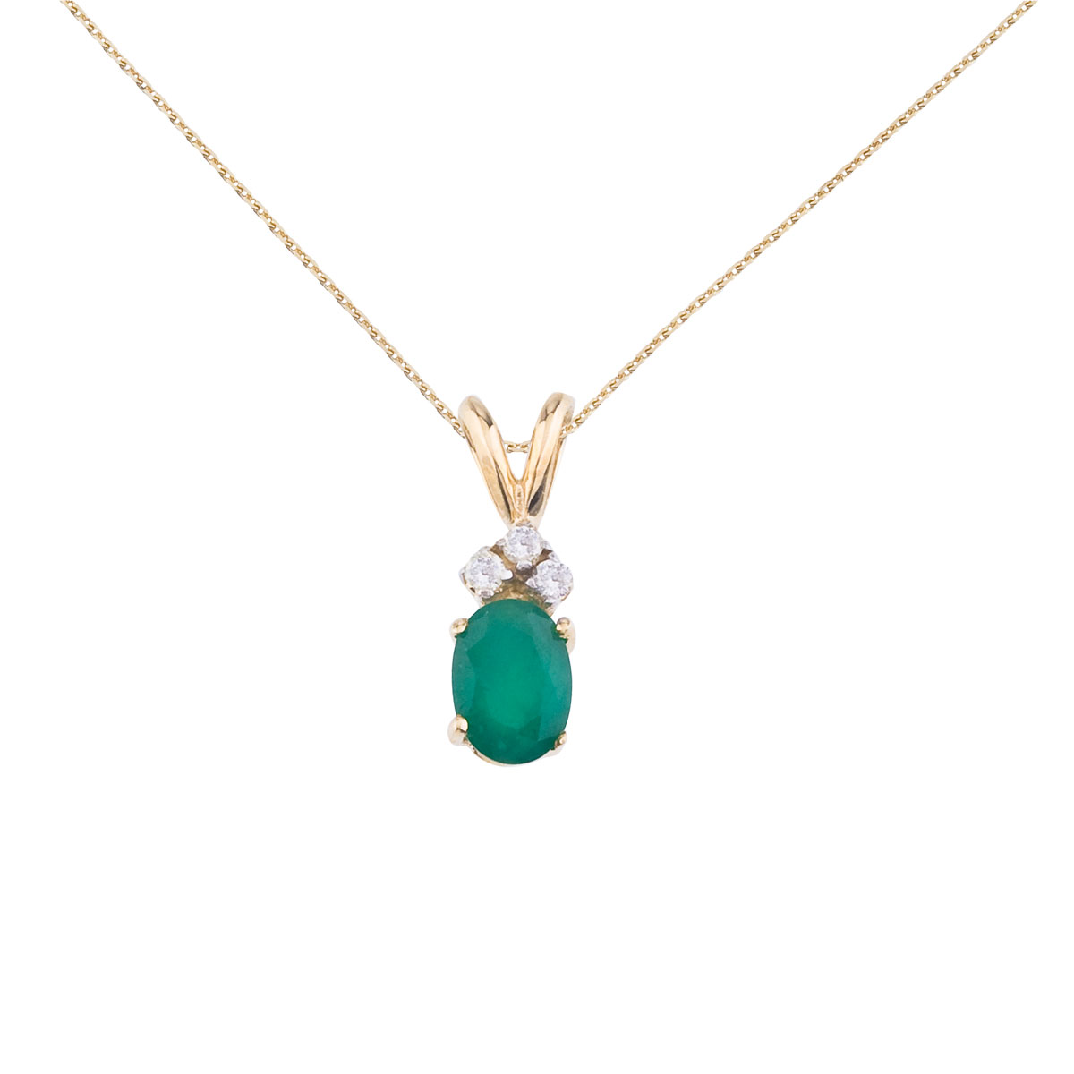 7x5 mm oval natural emerald pendant topped with 3 bright diamonds set in 14k yellow gold.