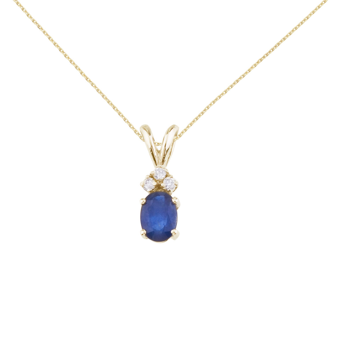 7x5 mm oval natural sapphire pendant topped with 3 bright diamonds set in 14k yellow gold.