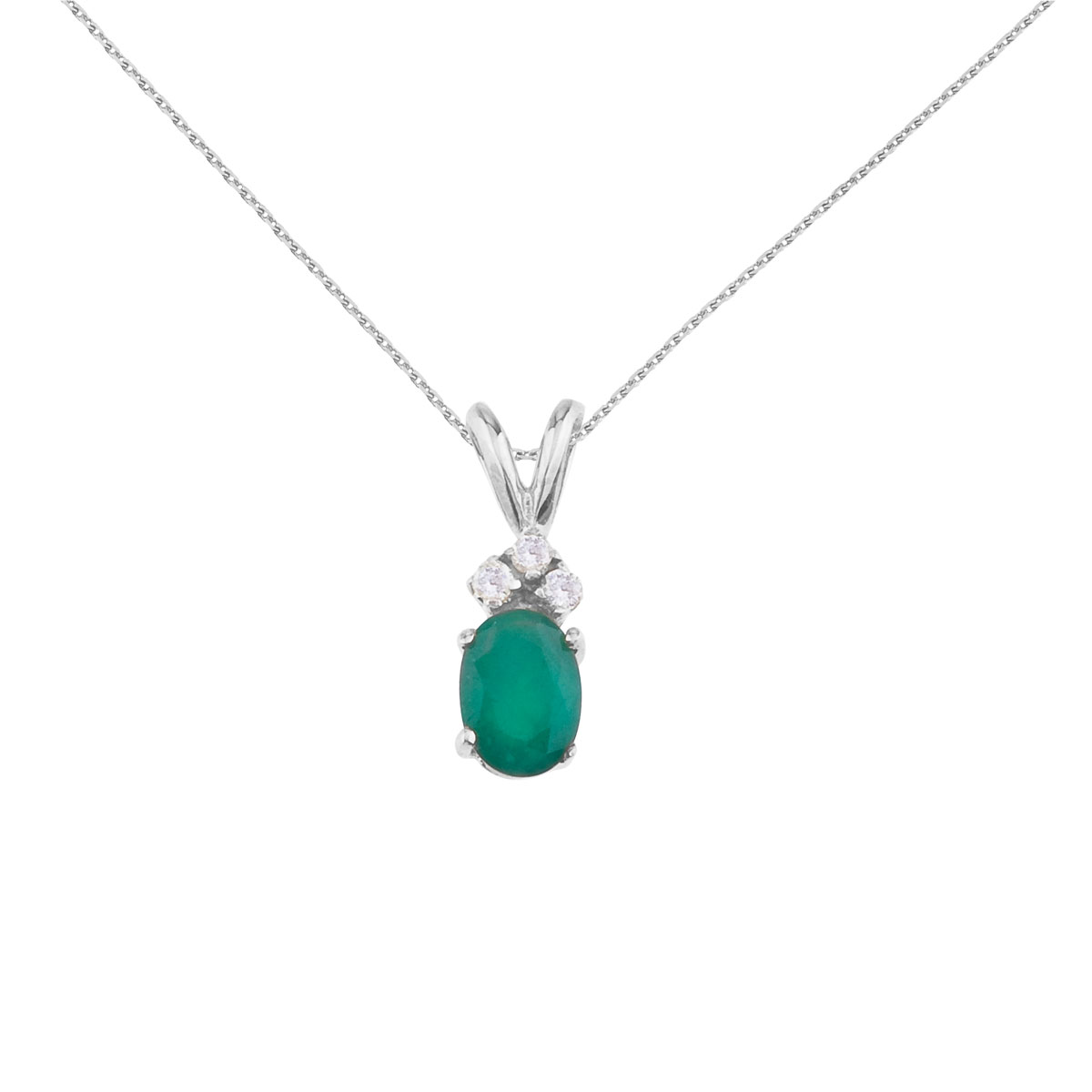 7x5 mm oval natural emerald pendant topped with 3 bright diamonds set in 14k white gold.
