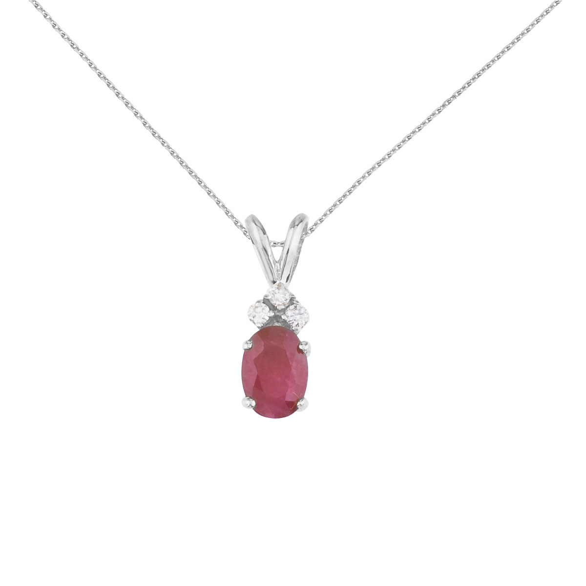 7x5 mm oval natural ruby pendant topped with 3 bright diamonds set in 14k white gold.