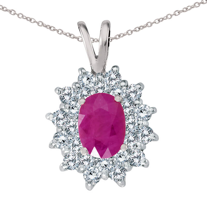 7x5 mm genuine ruby pendant surrounded by .60 total ct diamonds in a beautiful sophisticated 14k ...