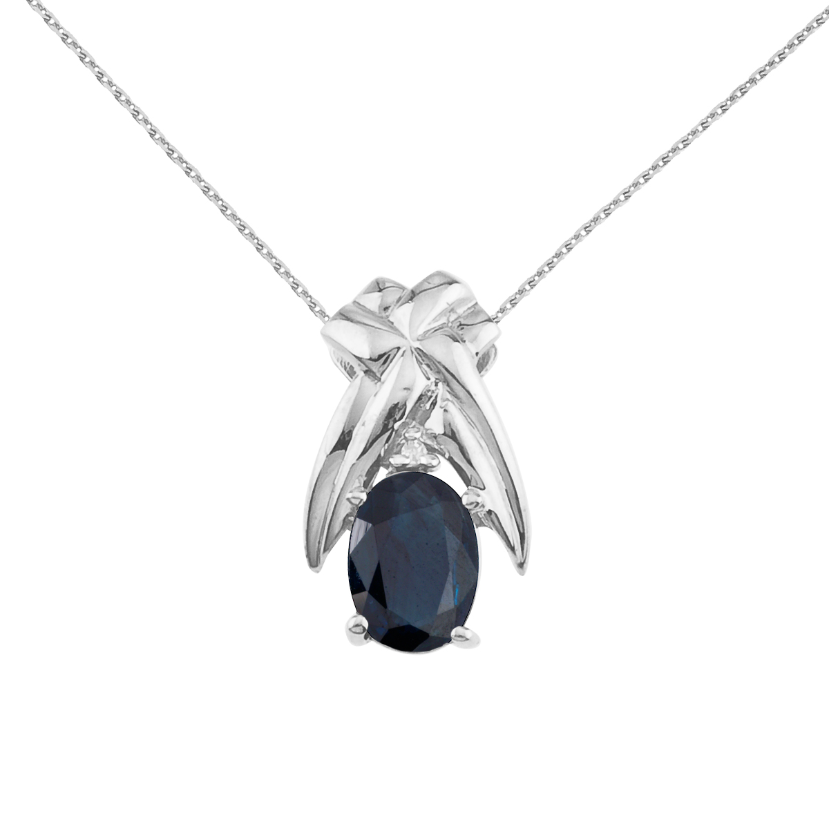 7x5 mm natural sapphire and diamond accented pendant in 14k yellow gold.