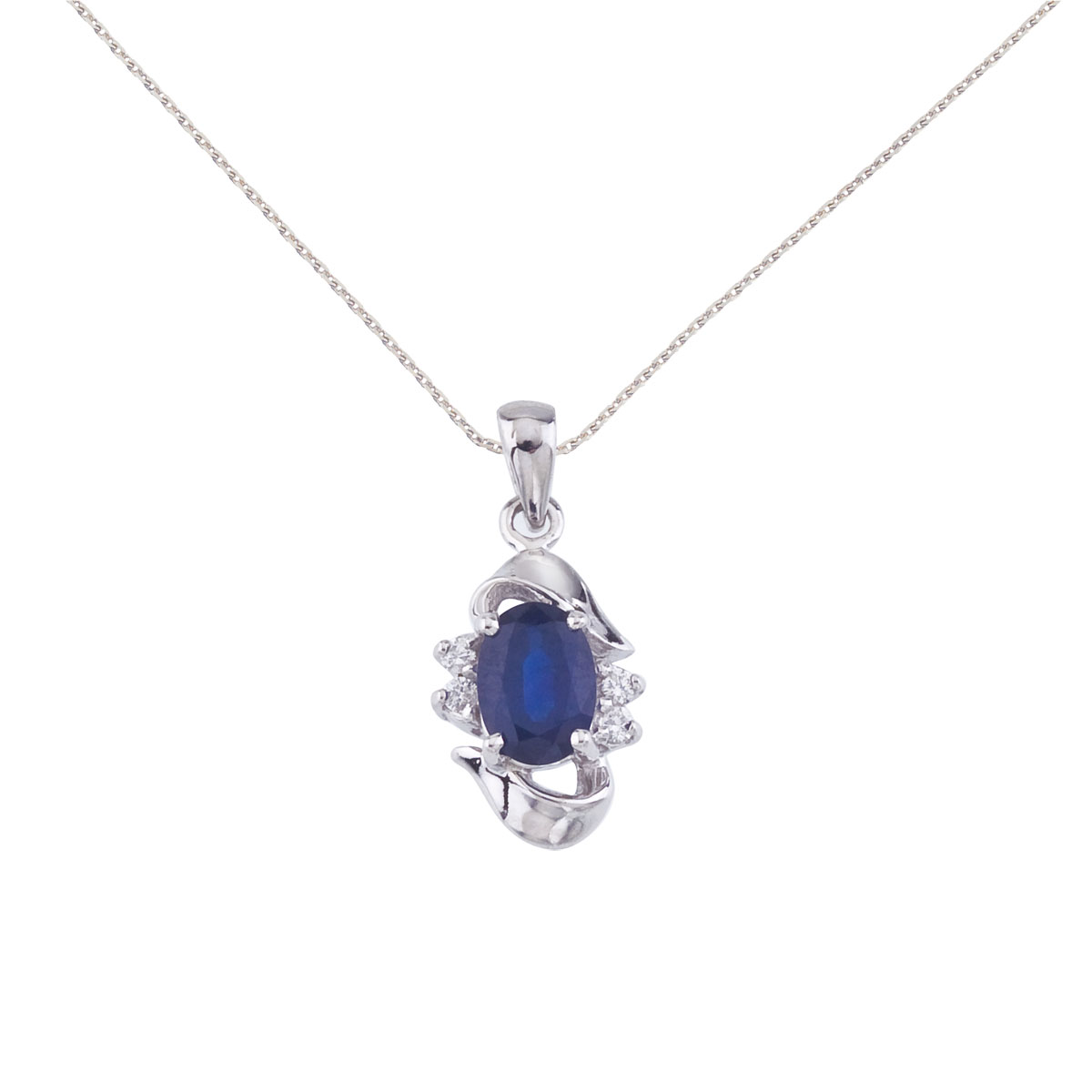 Add a hint of blue to your look with this 14k white gold emerald pendant. Featuring a genuine 7x5...
