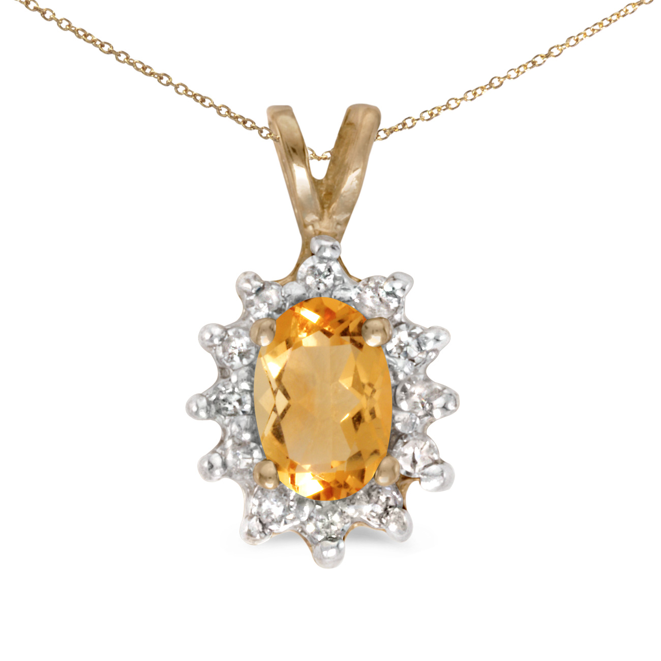 This 14k yellow gold oval citrine and diamond pendant features a 6x4 mm genuine natural citrine with a 0.31 ct total weight.