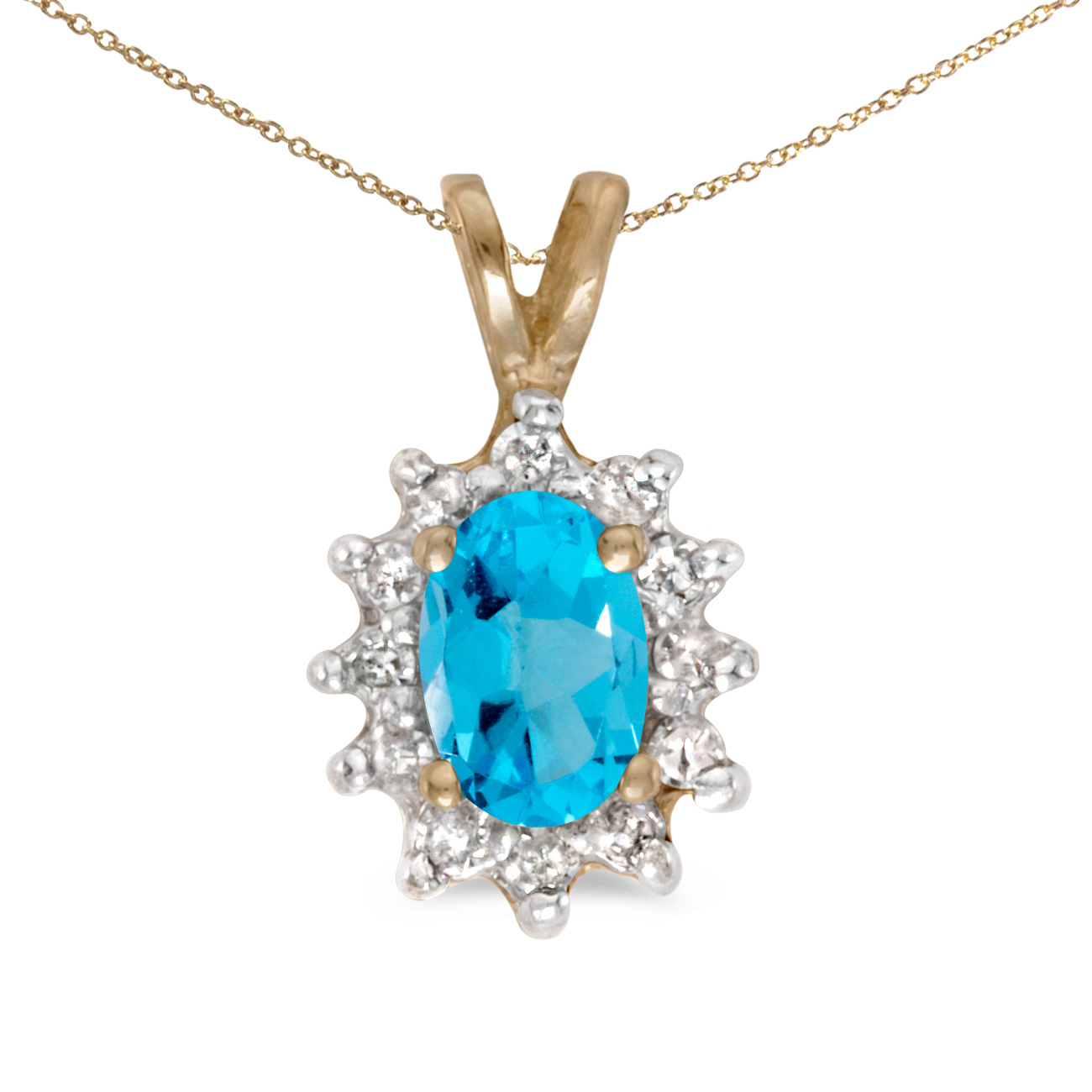 This 14k yellow gold oval blue topaz and diamond pendant features a 6x4 mm genuine natural blue t...