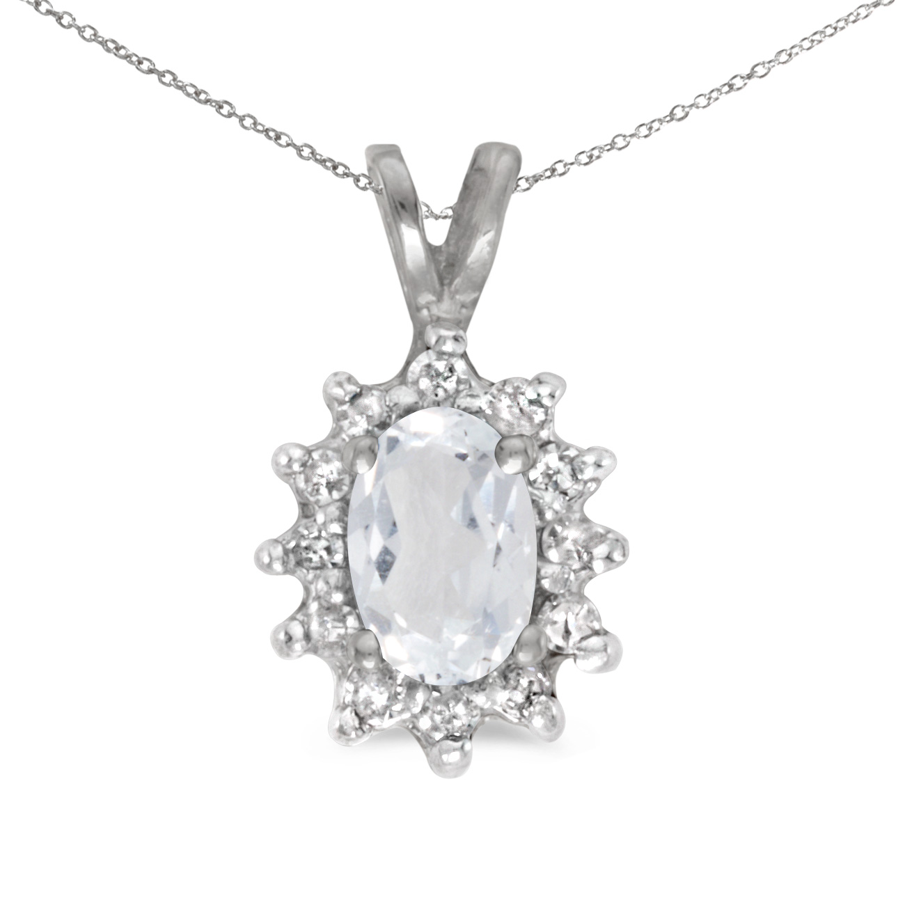 This 14k white gold oval white topaz and diamond pendant features a 6x4 mm genuine natural white ...