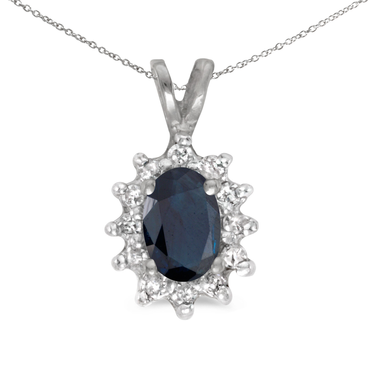 This 14k white gold oval sapphire and diamond pendant features a 6x4 mm genuine natural sapphire ...