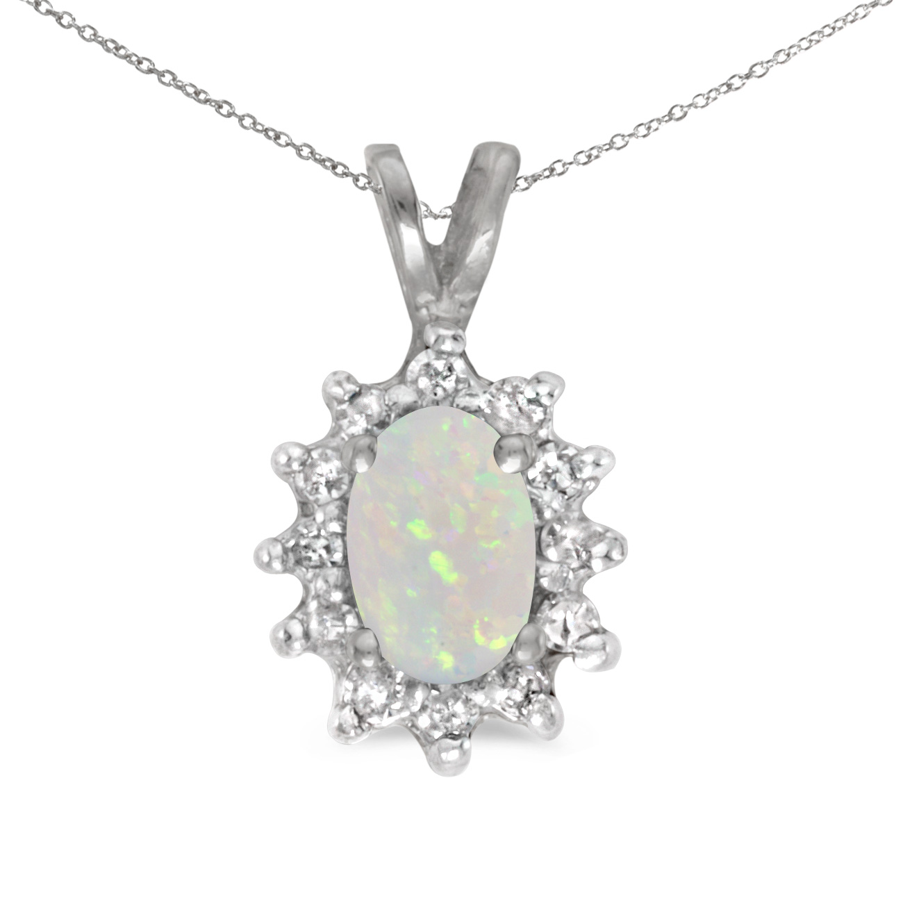 This 14k white gold oval opal and diamond pendant features a 6x4 mm genuine natural opal with a 0...