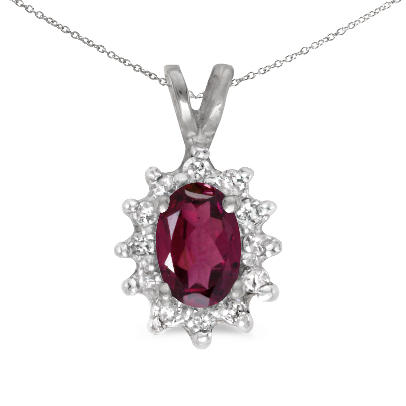 This 14k white gold oval rhodolite garnet and diamond pendant features a 6x4 mm genuine natural r...