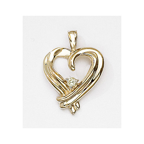 Beautiful heart pendant with a bright .05 ct diamond set in 14k yellow gold.